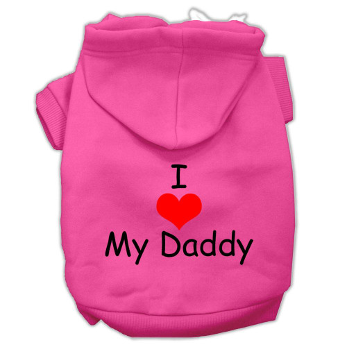 I Love My Daddy Screen Print Pet Hoodies Bright Pink Size Xl (16)