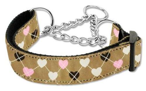 Argyle Hearts Nylon Ribbon Collar Martingale Tan Medium