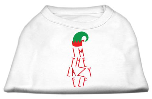 Lazy Elf Screen Print Pet Shirt White Xxl (18)