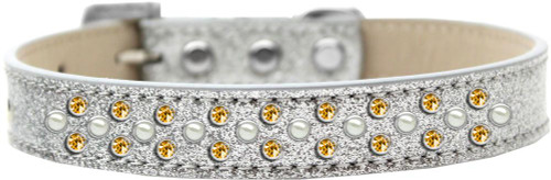 Sprinkles Ice Cream Dog Collar Pearl And Yellow Crystals Size 14 Silver