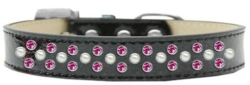 Sprinkles Ice Cream Dog Collar Pearl And Bright Pink Crystals Size 18 Black