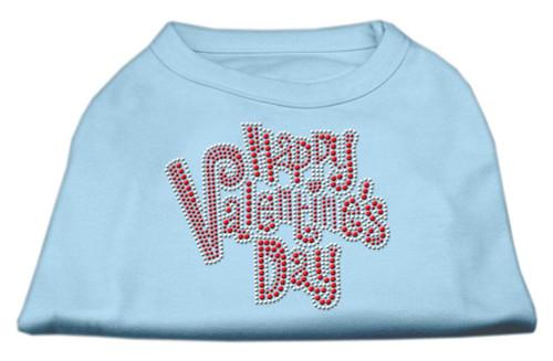 Happy Valentines Day Rhinestone Dog Shirt Baby Blue Sm (10)