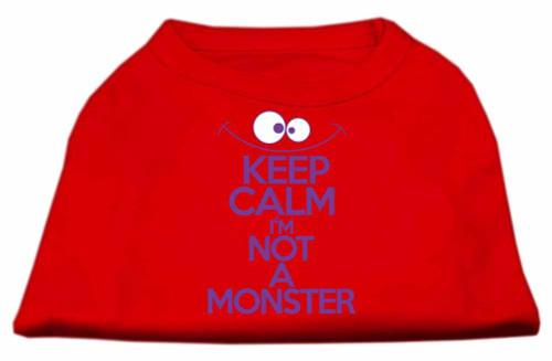 Keep Calm Screen Print Dog Shirt Red Med (12)