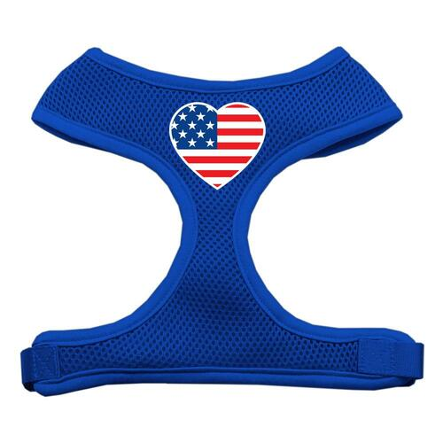 Heart Flag Usa Screen Print Soft Mesh Harness Blue Small
