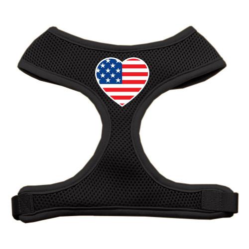 Heart Flag Usa Screen Print Soft Mesh Harness Black Small