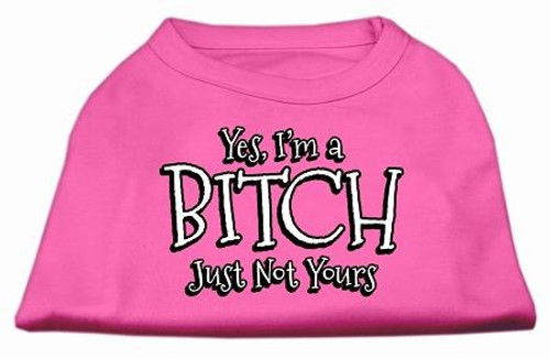 Yes Im A Bitch Just Not Yours Screen Print Shirt Bright Pink Lg (14)