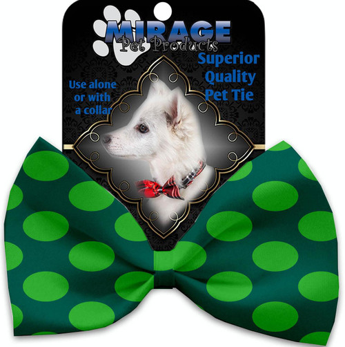 Green On Green Dots Pet Bow Tie