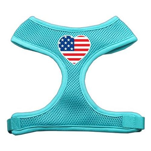 Heart Flag Usa Screen Print Soft Mesh Harness Aqua Small