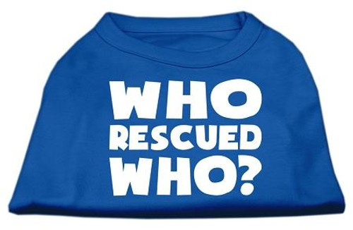 Who Rescued Who Screen Print Shirt Blue Sm (10)