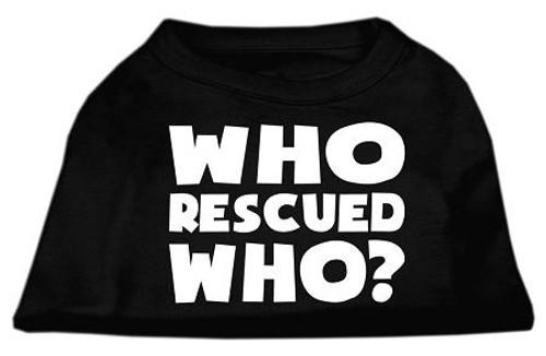 Who Rescued Who Screen Print Shirt Black  Sm (10)