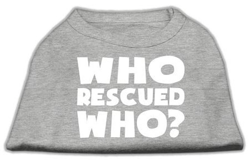 Who Rescued Who Screen Print Shirt Grey Sm (10)