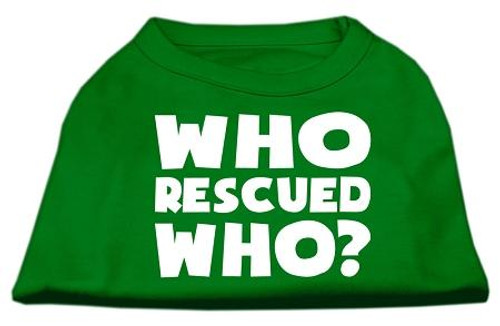 Who Rescued Who Screen Print Shirt Green Sm (10)