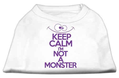 Keep Calm Screen Print Dog Shirt White Med (12)