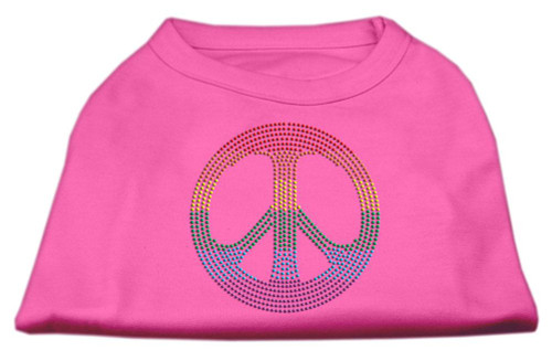 Rhinestone Rainbow Peace Sign Shirts Bright Pink L (14)