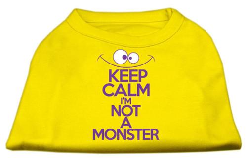 Keep Calm Screen Print Dog Shirt Yellow Med (12)