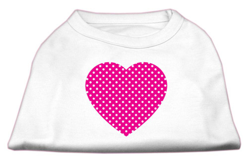 Pink Swiss Dot Heart Screen Print Shirt White S (10)