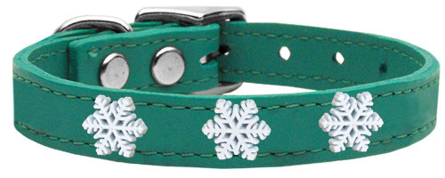 Snowflake Widget Genuine Leather Dog Collar Jade 12