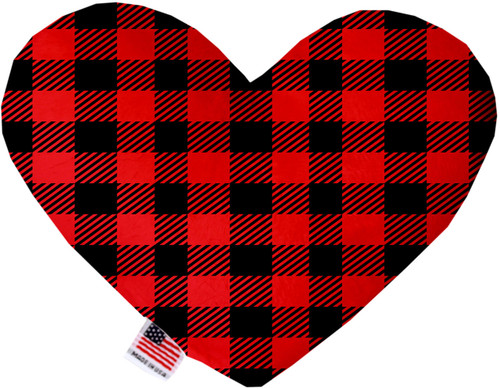 Red Buffalo Check 6 Inch Heart Dog Toy