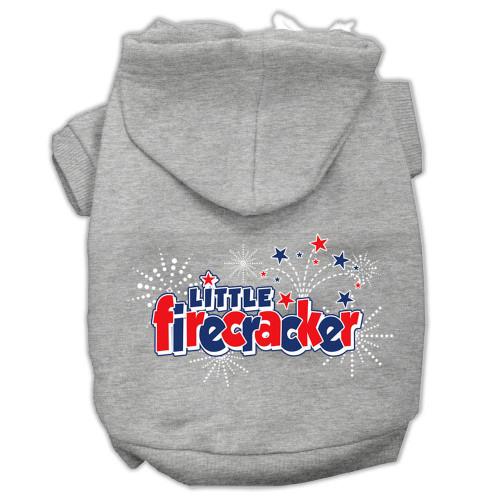 Little Firecracker Screen Print Pet Hoodies Grey L (14)