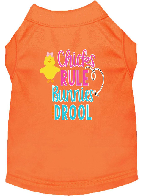 Chicks Rule Screen Print Dog Shirt Orange Xxl (18)