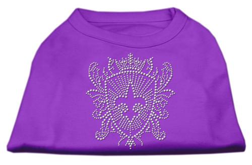 Rhinestone Fleur De Lis Shield Shirts Purple Xs (8)