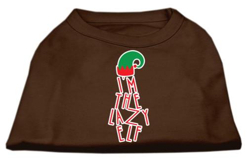 Lazy Elf Screen Print Pet Shirt Brown Xxl (18)