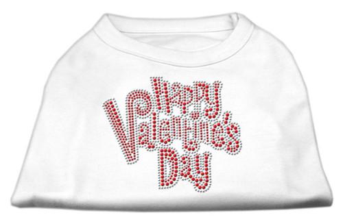 Happy Valentines Day Rhinestone Dog Shirt White Lg (14)