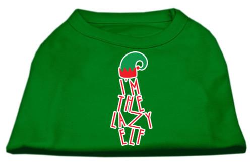 Lazy Elf Screen Print Pet Shirt Emerald Green Xxl (18)