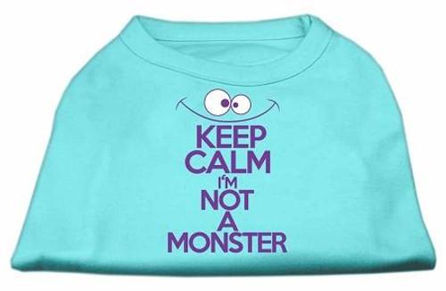Keep Calm Screen Print Dog Shirt Aqua Med (12)
