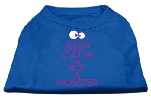 Keep Calm Screen Print Dog Shirt Blue Med (12)