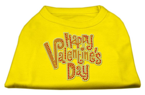 Happy Valentines Day Rhinestone Dog Shirt Yellow Lg (14)