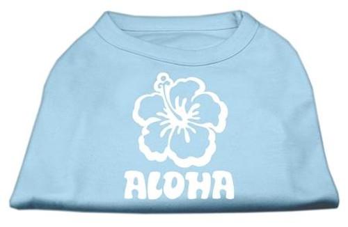 Aloha Flower Screen Print Shirt Baby Blue Med (12)