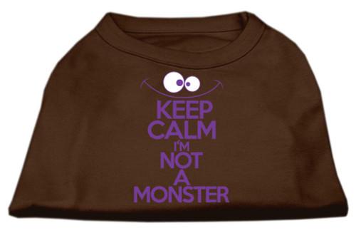 Keep Calm Screen Print Dog Shirt Brown Med (12)