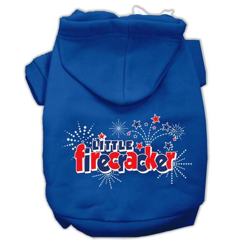 Little Firecracker Screen Print Pet Hoodies Blue Size Lg (14)