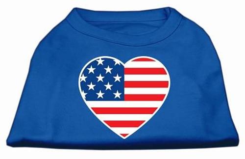American Flag Heart Screen Print Shirt Blue Sm (10)