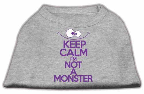 Keep Calm Screen Print Dog Shirt Grey Med (12)