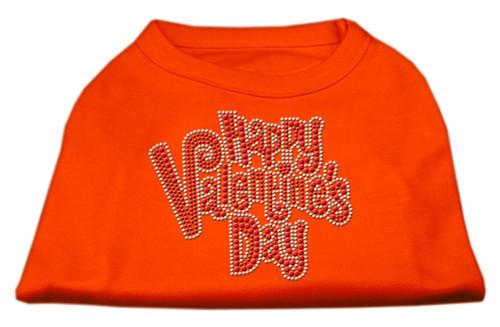 Happy Valentines Day Rhinestone Dog Shirt Orange Lg (14)
