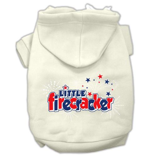 Little Firecracker Screen Print Pet Hoodies Cream Size L (14)