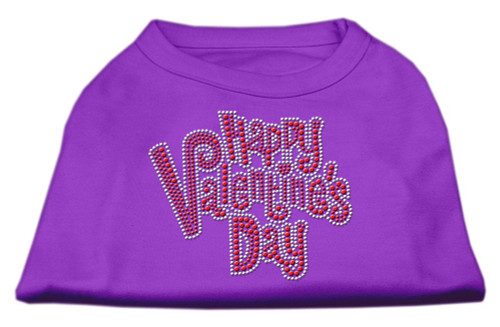 Happy Valentines Day Rhinestone Dog Shirt Purple Lg (14)