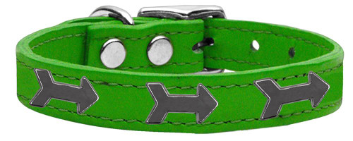 Arrow Widget Genuine Leather Dog Collar Emerald Green 16