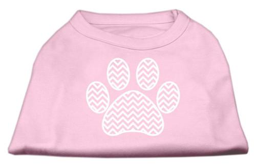 Chevron Paw Screen Print Shirt Light Pink Xs (8)