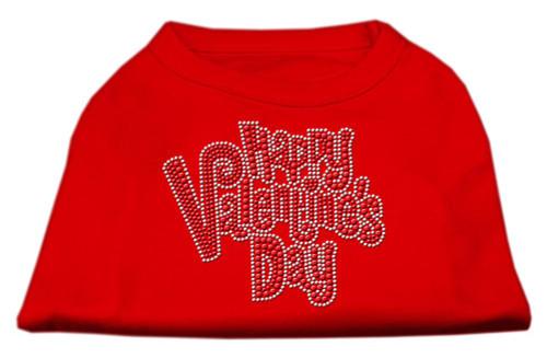 Happy Valentines Day Rhinestone Dog Shirt Red Lg (14)