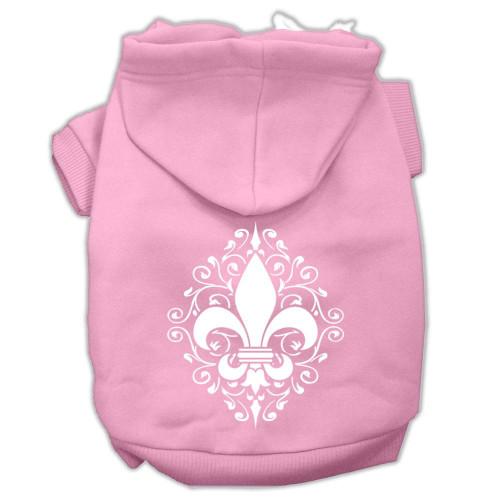 Henna Fleur De Lis Screen Print Pet Hoodies Light Pink Size Sm (10)