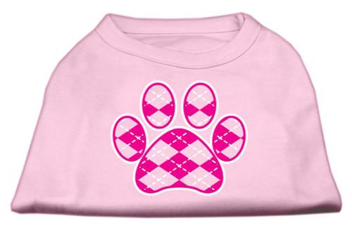 Argyle Paw Pink Screen Print Shirt Light Pink Sm (10)