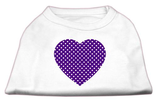 Purple Swiss Dot Heart Screen Print Shirt White M (12)