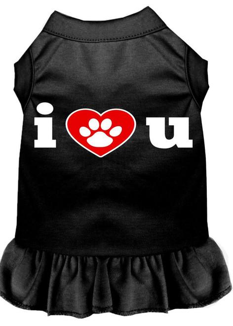 I Heart You Screen Print Dress Black Lg (14)
