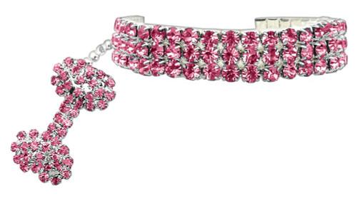 Glamour Bits Pet Jewelry Pink M (8-10)