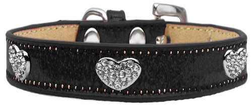 Crystal Heart Dog Collar Black Ice Cream Size 16