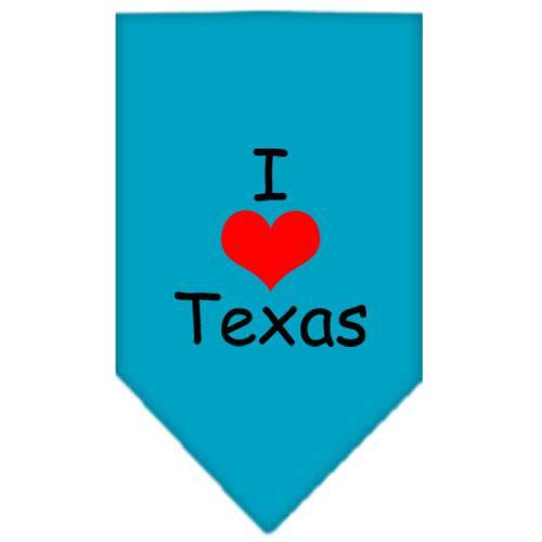 I Heart Texas  Screen Print Bandana Turquoise Large