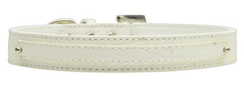"3/8"" (10mm) Faux Croc Two Tier Collars White Medium - 10-01 MdWtC"